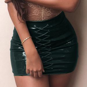 Kadınlar Seksi PU Deri Kalem Etek Bayan Lace Up BODYCON Mini Etek Yüksek Bel Alt Skinny Smooth Deri Sıcak Moda