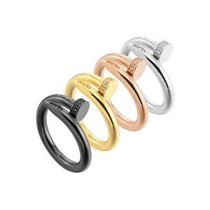 Titane Acier Anneau pour les femmes de la mode haut de gamme de qualité pour les dames de beaux bijoux d'or en or rose d'argent avec le diamant