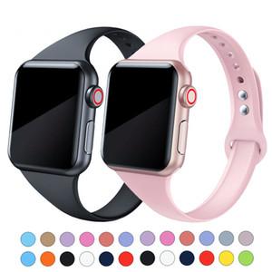 Magro Strap Silicone Para a Apple Assista 3 2 1 38 milímetros 42mm Esporte bandas iWatch 5 elásticos 4 44 milímetros 40mm Pulseira Belt