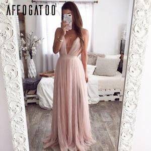 Affogatoo sexy vestito le donne rosa sera maxi vestito elegante pizzo estate backless v profondo scollo vacanza signore vestito lungo del partito 2019 Y200101