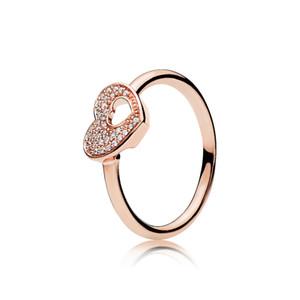 Anelli a forma di cuore con brillanti oro rosa 18 carati Scatola originale per anelli di fedi nuziali Pandora in argento sterling 925