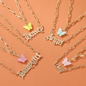 Mode Multi-Layer Frauen Halskette Bunte Schmetterling Babygirl Engel Brief Alphabet Anhänger Kette Halsketten Für Frauen Mädchen Geschenke