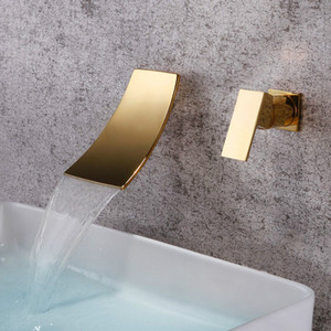 Gold Schwarz Separated Waschbecken Wasserhahn Wandmontage Wasserfall Stil Hot Cold Basin Water Mixer Chrome Tap