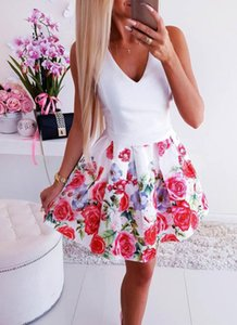 Printemps Western Summer WISH Hot Vendre robe blanche impression encolure en V Taille Robe sexy