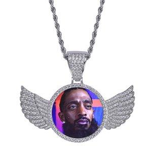 2020 nuevo personalizado foto medallón COLLAR COLGANTE oro plata rosa oro con incrustaciones de circón hombres mujeres bling Hip Hop joyería