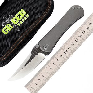 الأخضر شوكة M390 بليد sbsf tc4 التيتانيوم الطي سكين للطي التخييم سكين صيد بقاء التكتيكية فائدة سكاكين الفاكهة الجيب