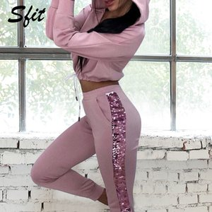 Sfit Spring Autumn Women's Fashion Two Piece Sets Side Strap Hooded Zip Hooded Sweatshirt Two-piece Tracksuit Set Sports Outfit