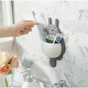 귀여운 토토로 욕실 칫솔 홀더 벽 마운트 흡입 컵 치약 보관 케이스 칫솔과 치약 홀더 2020 새로운