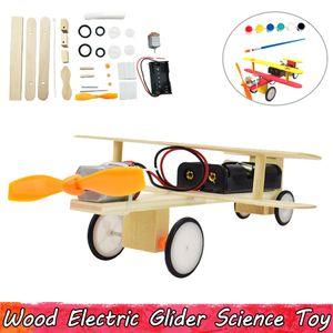 나무 전기 글라이더 실험 과학 완구 DIY 어린이를위한 교육 완구 조립 뇌 기능 향상 선물