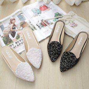 2020 Pantofole donna estate più il formato di cuoio 43 Moda Patent paillettes decorazioni piani delle signore di fuori Casual Shoes Mules Slides