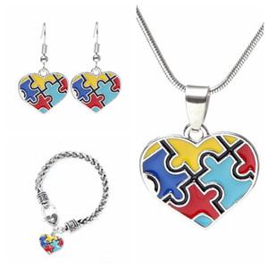 Coloré Coeur collier pendentif Femme Creative Multicolor Picture Puzzle Pendentif Colliers Boucles d'oreilles Bracelet Ensemble de bijoux TTA955-6