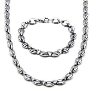 10 mm de largura brilhante Coffee Beans Chain Link Mens 14K Correntes do ouro traje de aço inoxidável Colar conjunto de jóias presentes do namorado
