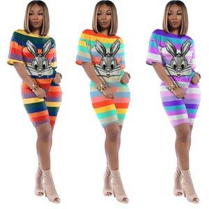 Женщины блестки Кролик спортивный костюм полоса наряды с коротким рукавом футболки+шорты 2 шт комплект спортивной одежды пуловер беговой костюм лето Cothing 2921