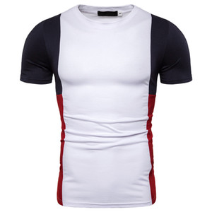 Miicoopie 2019 New Mens T- 셔츠, 여름용 대비 스티치 반소매 T 셔츠