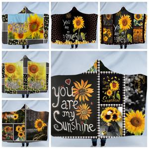 Kapuzendecke Sunflower Wurfdecken Wearable Fleece Blanket Kinderzauberumhang Cape Bedding Supplies Weihnachtsgeschenk 6 Designs DW4389