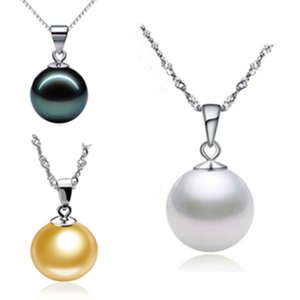 925 Sterling Silver Round Bead Necklace Fashion Jewelry Accessories Natural Pearl Pendant