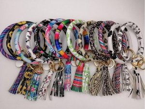 FEDEX brazalete llaveros con las mujeres de moda borla de cuero de la PU pulseras anillo dominante de la pulsera de Lilly de pulseras leopardo girasoles cactus