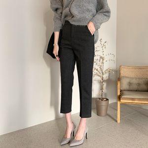Bureau Lady Pantalon de costume Femmes Pantalons taille haute solide mode poches Longueur mollet Pantalons Pantalones