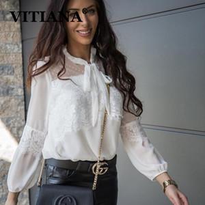 VITIANA Женщины Повседневная шифоновая блузка лето 2020 Женский длинным рукавом Mesh Sexy Белый Блузы Femme Бич BlackTops Уличная
