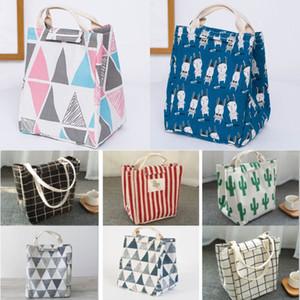 Многоразовая сумка для обеда изолированная коробка для завтрака холст ткань алюминиевая фольга полосатая сетка кактус обед сумка для взрослых школьный офис WX9-1539
