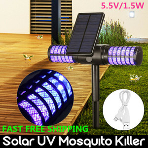 Solar Mosquito Killer Lamp Waterproof Villa Yard Garden LED Light Lawn Camping Lamp Large Bug Zapper Light Pest Control CCA11700 10pcs
