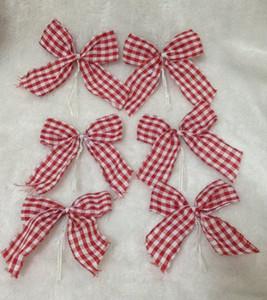 Decoración de suministros pequeños árbol de navidad colgantes arco rojo y blanco exportar mercancías! 6 paquetes