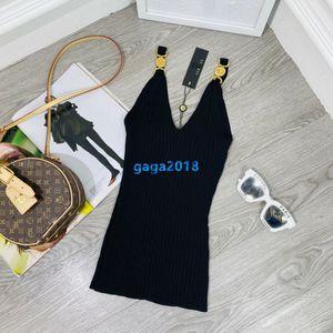 High-End-Frauen Mädchen stricken camis Weste T-Shirt mit Goldton Taste gestreiften sleevesless sexy tee milano Modedesign Pullover Luxus Tops