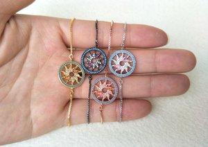 10 pezzi Sparkly CZ zircone Micro Pave Connector Bracciali Gioielli, girasole CZ Beads Bracciali con regolabile per le donne BG86