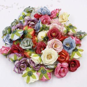 120pcs renkli Şakayık sahte çiçek kafa düğün dekorasyon, mini ipek çiçek DIY yapay çelenk kraft kağıt çiçek XD22488 5.5cm