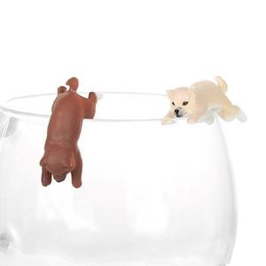 Cane della novità Coppa bordo figura modello Animal Pen decorazioni paglia Finger giocattoli appesi Gadget Destop bambola Simple Gifts all'ingrosso