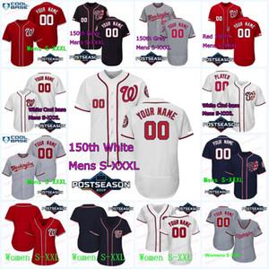 Washington 2019 Sonrası 22 Juan Soto 16 Victor Robles 7 Trea Turner 6 Anthony Rendon 11 Zimmerman Max Scherzer'in Nationals Beyzbol Formalar