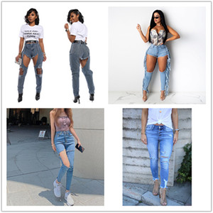 Womens Designer Ripped Pencil Jeans Summer Fashion Womens Panelled Washed Jeans Sexy Light Blue Denim Pants