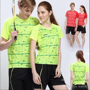 Yeni Li-Ning badminton gömleklerinin Erkek ve kadın oyun şort yuvarlak manşon, yaka yaz hızla tenis forması Badminton aşınma setleri absorbe