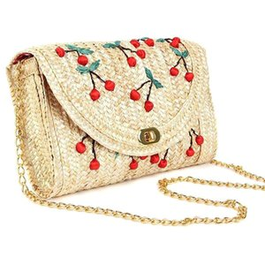 Cerise Straw Messenger Bag Lady Tressé Sunny Beach Chaîne Sac à bandoulière Mer Accessoires Paquet vacances Crossbody