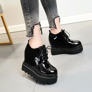 Spring Autumn Patent Leather Height Increasing Platform Sneakers Wedges Shoes For Women Fashion Sneakers Casual