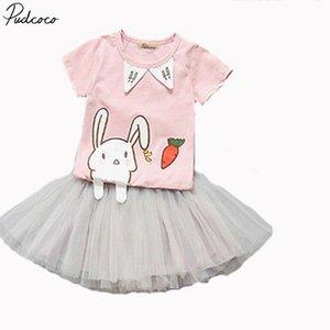 Pudcoco Güzel Çocuk Bebek Kız Yaz Pembe Karikatür Baskılı Kısa Kollu T-shirt + etek 2-7years