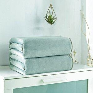 Sólido verde menta manta polar de coral del color de la franela de poliéster en color visón 5 Tamaño Tire sofá cubierta de la hoja suaves mantas de la cama