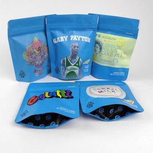 Bolsas a prueba de olor 420 Flores de la hierba seca 3,5 g bolsitas de pie bolsas bolsa de hierba seca de tabaco de alta calidad Azul Bolsas