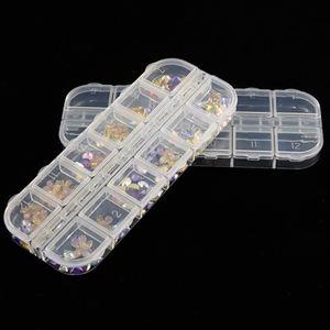 Caja de almacenamiento de arte de uñas 12 Compartimiento de rejillas Organizador de lentejuelas de plástico Mini diamante Cajas vacías nuevo