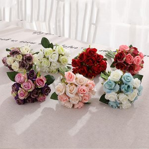 Ramillas falso artificial de Rose de la flor de seda de calidad plástico simulación florece Inicio Alta Parte boda Decorar rosas 12pcs / lot LJJA3264