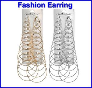 Boucle d'oreille de mode pour les femmes Big Ring Alliage Big Hoop Earring Set à la mode géométrique Pure Color Drop boucles d'oreilles dames accessoires de mode acc071