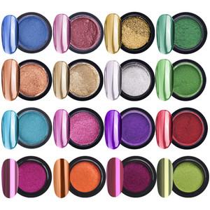 Mujeres Nail Powder Metallic Color Nail Art Mirror Efecto Polvo Efecto Cromado Pigmento Decoraciones de polvo Manicura Nails Brillo con pinceles