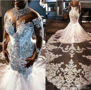 Vestidos de boda de la sirena de África Cristales de lujo vestido de novia Vestidos de novia de encaje Apliques Mayor rebordear Vestidos de manga larga Plus