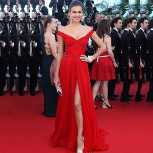 Red Off the Shoulder Side Split Evening Dresses Beading Ruched A Line Chiffon Prom Gown Evening Wears