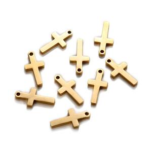 50 unids / lote 9 * 17mm Oro Plata Color acero inoxidable Cruz de la Paz Charms Colgantes de Joyas Fabricación de DIY DIY Artesanía Hecha A Mano