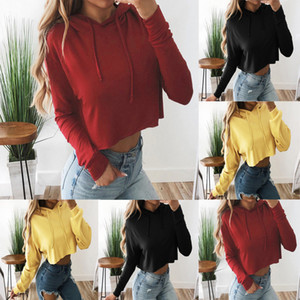 New Arrived Solid Color sudadera mujer Fashion Women Long Sleeve Drawstring Sweatshirt Hooded Solid Top Pullover Blouse bluza#7