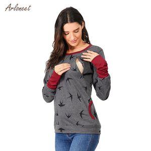 ARLONEET maternità con cappuccio sweatershirt L'allattamento al seno di cura dei ponticelli incinte uccelli a maniche lunghe stampa moletom feminino inverno