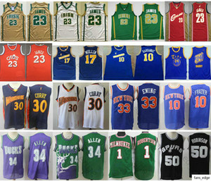 Retro David #50 Robinson Ray 34 Allen Oscar 1 Robertson Jersey Stephen 30 Curry LeBron 23 James Vintage Basketball Jerseys Mix Order