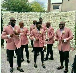 späteste Klage der rosafarbenen Männer 2-teilige Jackenart und weisehochzeitskleid-Partei double breasted pants + pink blazer