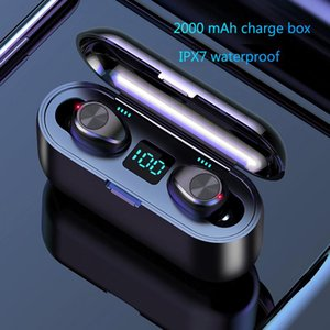 Wireless Earphone Bluetooth V5.0 F9 TWS Headphone HF Stereo Earbuds LED Display Touch Control 2000mAh Power Bank Headset With Microphone DHL
